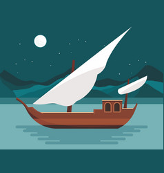 Flat design - ship at night vector