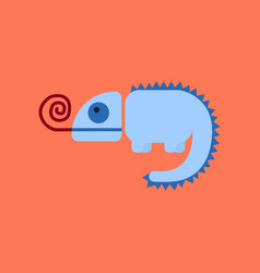 Flat icon on background reptile chameleon vector