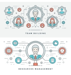 Flat line Team Building and Management vector