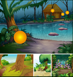 Four different nature scene forest and swamp vector