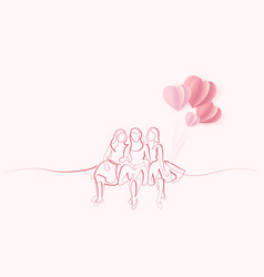 friends girls sitting together one line drawing vector image