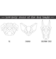 Front view of dog head triangular icon set vector image