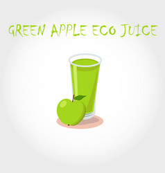glass bio fresh green apple juice vector image