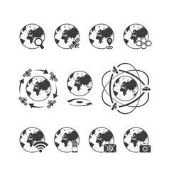 global communications icon set with globe earth vector image