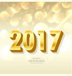 golden 2017 lettering in 3d style on bokeh vector image
