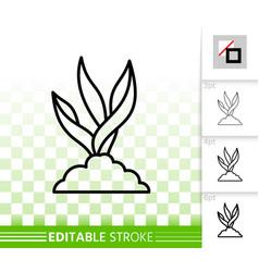 Grass simple black line icon vector