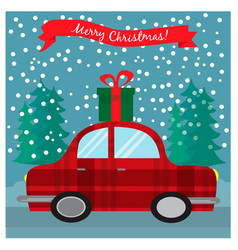 Greeting christmas card with retro car with gift vector