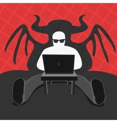 Hacker and computer devil vector