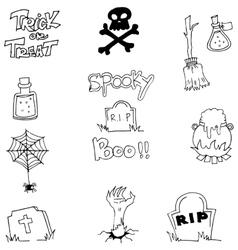Halloween doodle element zombie tomb vector image