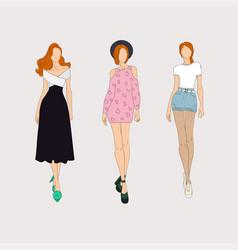 Hand drawn fashion models concept vector