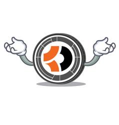 Hand up bitcoin dark character cartoon vector