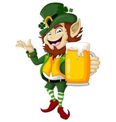 Happy Leprechaun with beer vector image