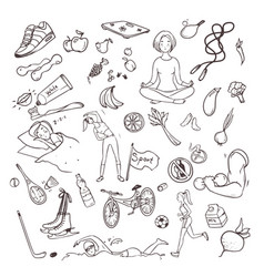 healthy lifestyle hand drawn set collection vector image
