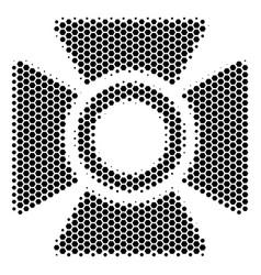 Hexagon halftone searchlight icon vector