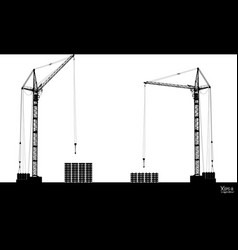 High detailed hoisting cranes isolated on white vector