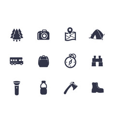 Hiking camping icons on white vector
