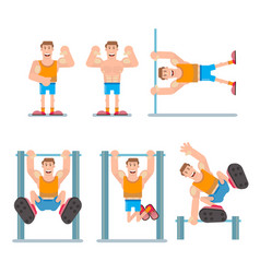 horizontal bar chin-up vector image