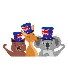 Kangaroo koala and wombat with hat australian flag vector