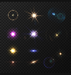 Lens flares and twinkle set vector