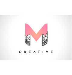 letter m beauty logo m letter design with origami vector image