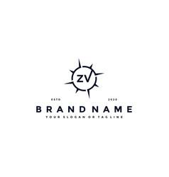 Letter zv compass logo design vector