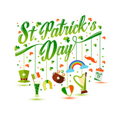 Lettering with icons of saint patrick s day vector