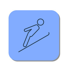 linear icon of skier jumping from a springboard vector image