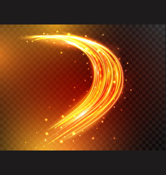 magic neon light lines glowing fire curves with vector image