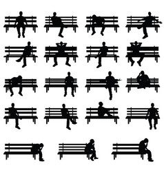 man silhouette sitting on bench set in black color vector image