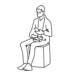 Man sitting on cube with some books looking at vector