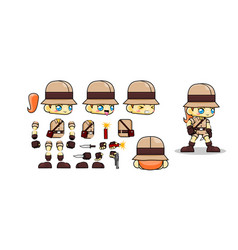 Mini character nomad girl kit cowgirl vector