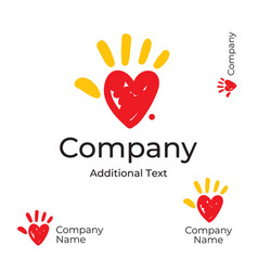 modern logo with heart and palm of the hand vector image