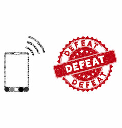 Mosaic mobile wi-fi signal with distress defeat vector