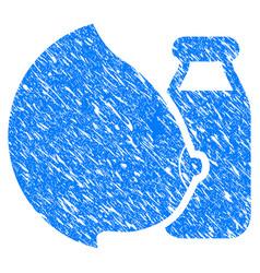 Mother tit milk bottle grunge icon vector