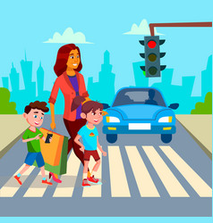 mother with children walk at crosswalk vector image