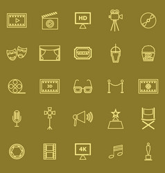 movie line color icons on brown background vector image