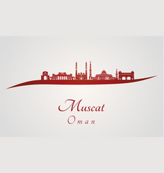 muscat skyline in red vector image