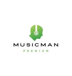 Music man human head with headphone logo icon vector