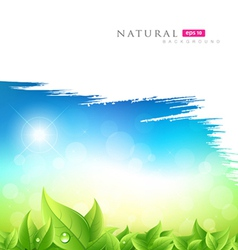 Painting brush green natural background vector