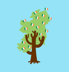 Patriotic tree ireland map irish flag national vector