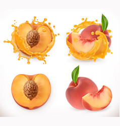 peach juice fresh fruit 3d icon vector image
