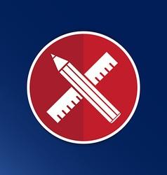 Pencil and ruler icon button logo symbol concept vector image