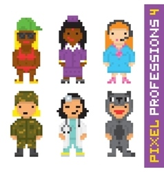 Pixel art style professions set 4 vector image