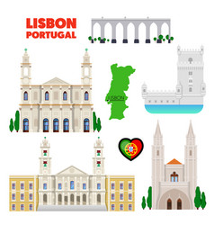 Portugal lisbon travel set with architecture vector