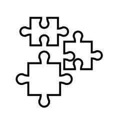 Puzzle jigsaw piece business team outline vector