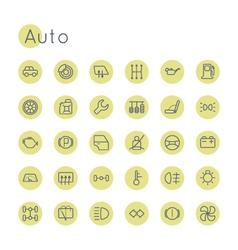 Round Auto Icons vector image