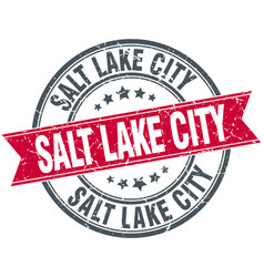 Salt lake city red round grunge vintage ribbon vector