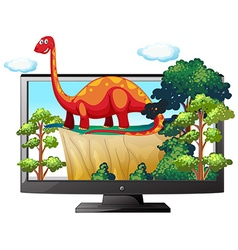 Sauropod on the computer monitor vector