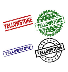 Scratched textured yellowstone seal stamps vector