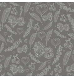 seamless abstract pattern with grey bird vector image
